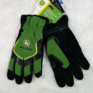 John Deere Mens Water Resistant Leather Gloves Lg